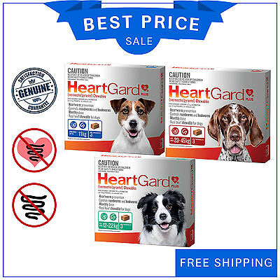 Heartgard Plus Heartworm and Worm Treatment for Dogs 3 Chews All Sizes