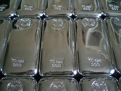 Perth Mint 10 ounce (oz) x 4 Bullion Bars of Pure 999 Silver