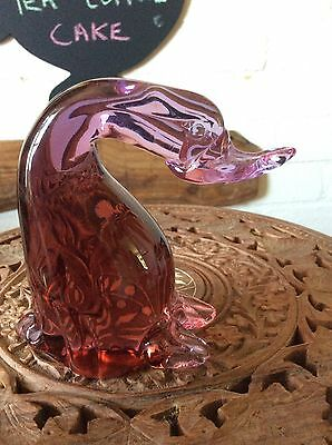 Figure Of A Pink Glass Duck