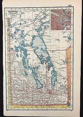 Vintage Map 1920, Manitoba, Canada, Winnipeg Inset - Harmsworth's Atlas