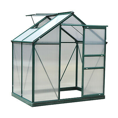 Outsunny 6x4ft Walk-In Polycarbonate Greenhouse Plant Grow Galvanized Aluminium