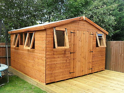 "Garden Shed 12x10 Apex  heavy duty T&G 3""x2 frame 1"" thick floor opening windows"