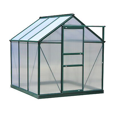 Outsunny 6x6ft Walk-In Polycarbonate Greenhouse Plant Grow Galvanized Aluminium