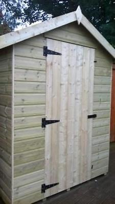 6 x 4 WOODEN APEX GARDEN SHED - PRESSURE TREATED WOOD THROUGHOUT