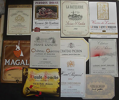 FRANCE 11 DIFFERENT MINT WINE LABELS 1990'th