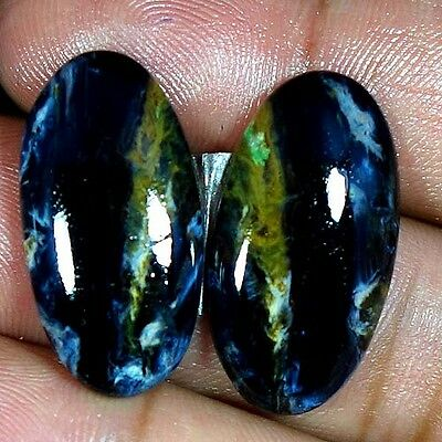22.80Cts. Adorable Natural Flashing Pietersite Oval Cab Matched Pair Gemstones