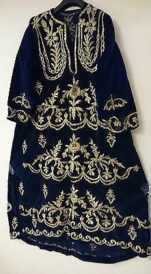 ANTIQUE TURKISH OTTOMAN GOLD-EMBROIDERED BLUE VELVET DRESS 19th c.