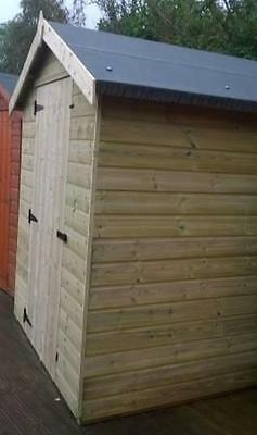 8 x 6 WOODEN APEX GARDEN SHED - PRESSURE TREATED WOOD THROUGHOUT