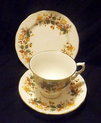 Queen Anne Trio White With Gold Trim With Gold Leaf & Berry Design.