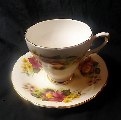 Royal Sutherland Cup & Saucer White With Yellow & Red Roses.