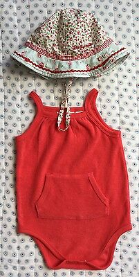 Country Road Baby Onesie Girls Size 12-18mths + Millymook Bucket Hat Size 12-24m