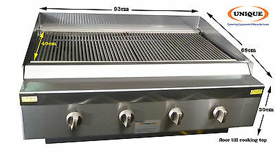Unique 4 Burner Chargrill Charcoal Gas Grill Heavy Duty Commercial Use - INC VAT