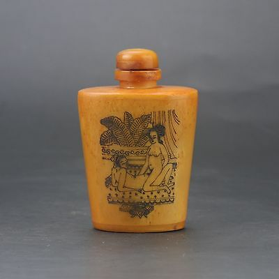 Chinese GuDiao Handwork Carved Woman & Man Snuff Bottle