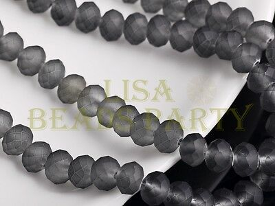 50pcs 8X6mm Faceted Rondelle Beads Loose Glass Paint Bead Jelly Deep Grey Crafts