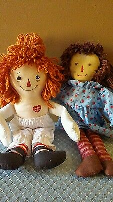 Raggedy Ann Doll Lot 85th Anniversary 12 Inch Doll and Unmarked Cloth Doll