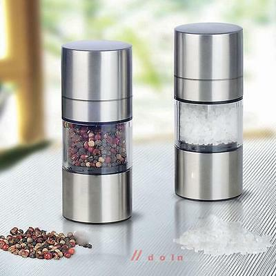 Manual Pepper Mill Coarse Salt Grinder Herbs Spices Stainless Steel Kitchen Tool