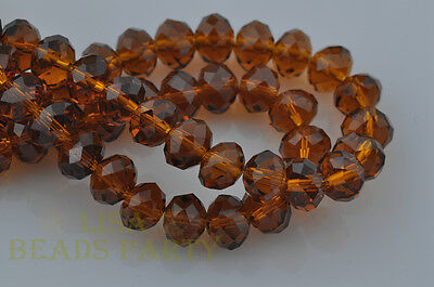 10pcs 14X10mm Faceted Rondelle Crystal Glass Loose Spacer Beads Topaz Findings