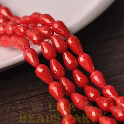 Hot 15pcs 12X8mm Gold Dust Teardrop Faceted Glass Loose Spacer Beads Red