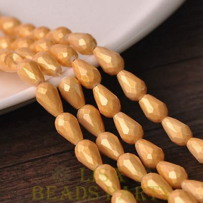 Hot 15pcs 12X8mm Gold Dust Teardrop Faceted Glass Loose Spacer Beads Light Gold