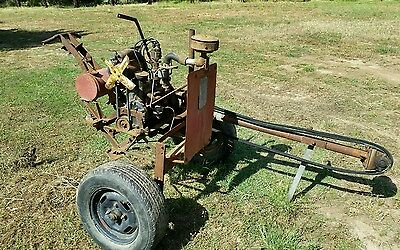old used saw bench industrial farm shed fire wood vintage machinery motor engine