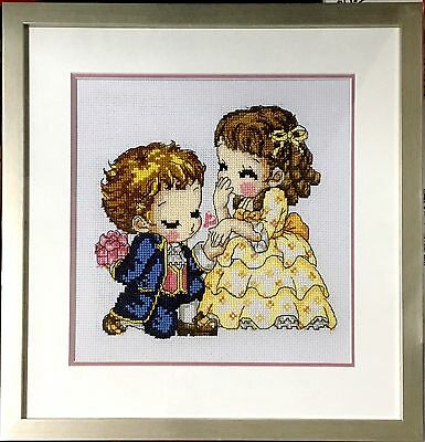 """Completed Cross Stitch """"Kiss""""with frame and glass cover"""