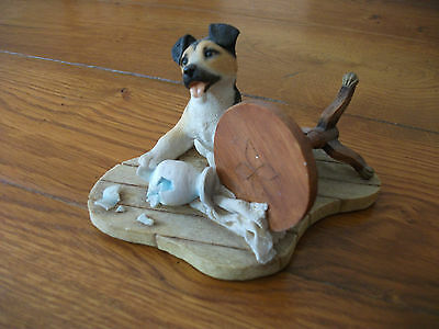 Sherratt And Simpson Puppy Dog With Upturned Table & Broken Vase Ornament