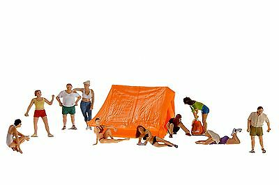 Preiser 10538 Camping set figures with tent and 10 people