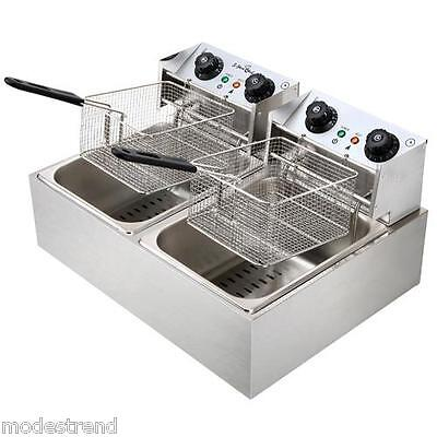 5 Star Chef Electric Commercial Deep Fryer Double Twin Basket Steel
