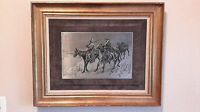 (2) Fredrick Remington Framed -Steel Plate Etchings