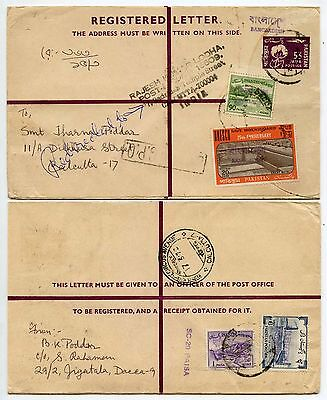 PAKISTAN BANGLADESH SURCHARGES on REGISTERED STATIONERY UPRATED to INDIA 1972
