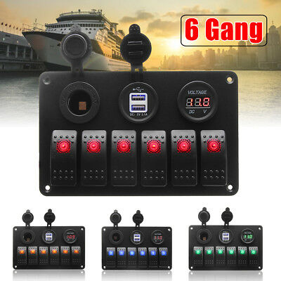 6 Gang LED Rocker Switch Panel Circuit USB Chargers Car RV Boat Marine