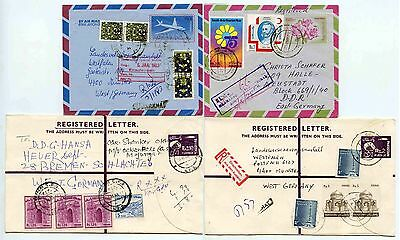 PAKISTAN UPRATED STATIONERY REGISTERED + AIRMAIL to GERMANY...4 ITEMS