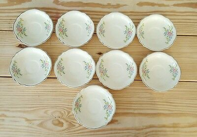 """Lot of 9 Homer Laughlin Virginia Rose M40N8 Saucer Plates 6"""" Made in USA flowers"""