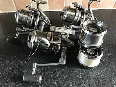 Shimano Power Aero 10000 xt  x 3  big pit Carp Reels in good used condition