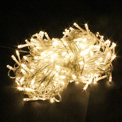 UK 30M 200LED Electric String Fairy Lights Indoor/Outdoor Xmas Party Warm White