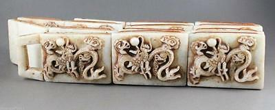 Chinese natural jade hand-carved dragons to ward off bad luck, the old belt
