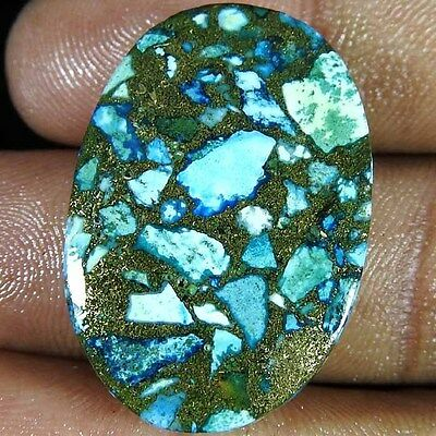 27.90 Cts. NATURAL SKY BLUE COPPER TURQUOISE OVAL ROYAL CABOCHON LOOSE GEMSTONE