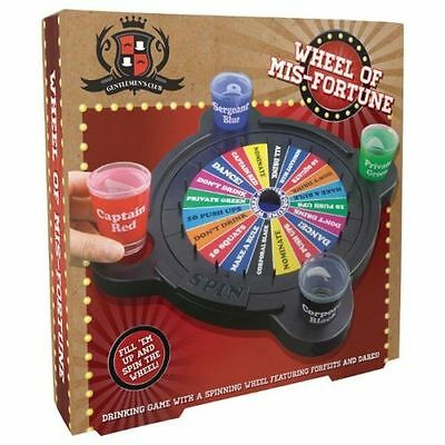 WHEEL of MISFORTUNE Spinning Roulette Shot Glasses DRINKING GAME