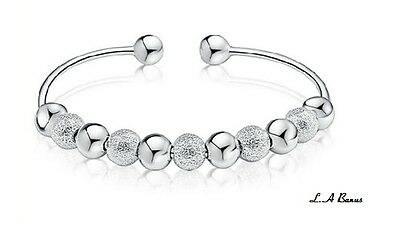 New Ladies 925 Sterling Silver Bead Bangle Bracelet + Gift Pouch Girl Idea Her