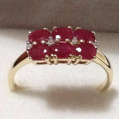 1.51ct TW (6pcs) Genuine Natural Ruby & Diamond 9K Solid Yellow Gold YG Ring