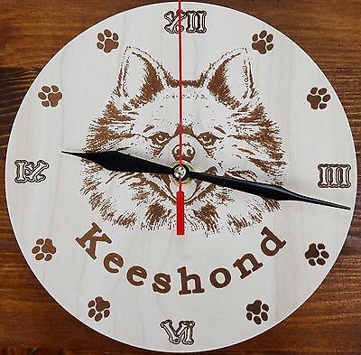 Round Wooden custom Engraved Keeshond Wall Clock with your dog Name