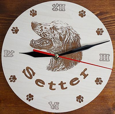 Round Wooden custom Engraved English Setter Wall Clock with your dog Name