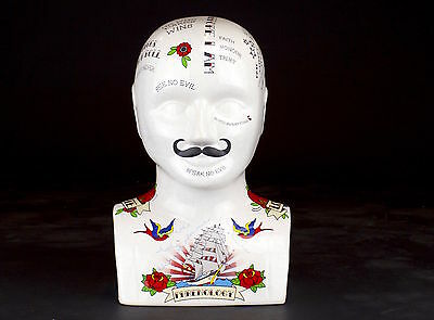 Large Phrenology Head Ceramic Tattoo Style Bust Vintage Look Ink New Not Small