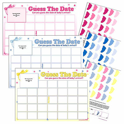 BABY SHOWER GAME - Guess The Date, Blue Boy Pink Girl Unisex Party Sweepstake