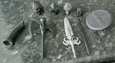 Motuc Masters of the Universe Classics lot of custom heads & weapons