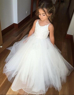 New White Flower Girl Dress Communion Prom Ball Princess Pageant Party Dresses