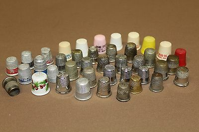40~Vintage Thimbles Metal, Plastic & Porcelain Some With Advertising