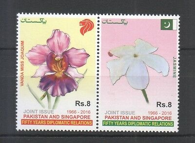 Pakistan 2016 Singapore Joint Issue National Flowers (Orchid & Jasmine) Set Mint