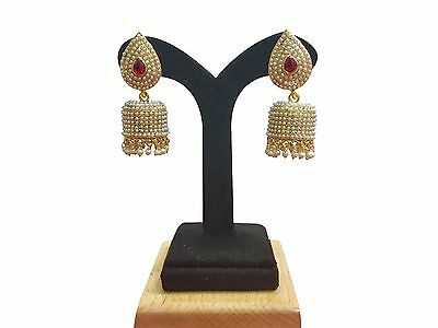 Bollywood Fashion Gold White Jewelry Indian Pearl Earrings Jhumki Jhumka Set