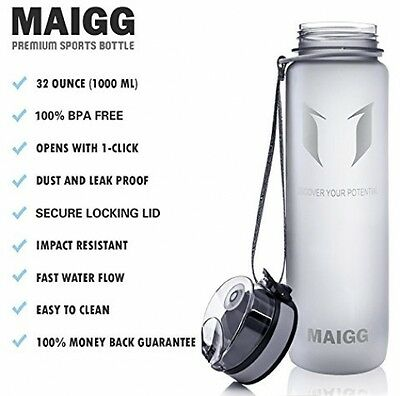 MAIGG Best Sports Water Bottle - 17oz-- Eco Friendly and BPA-Free Plastic - For